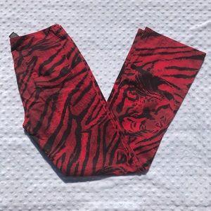 DKNY Red & Black Tiger Print Flare Jeans 🐅
